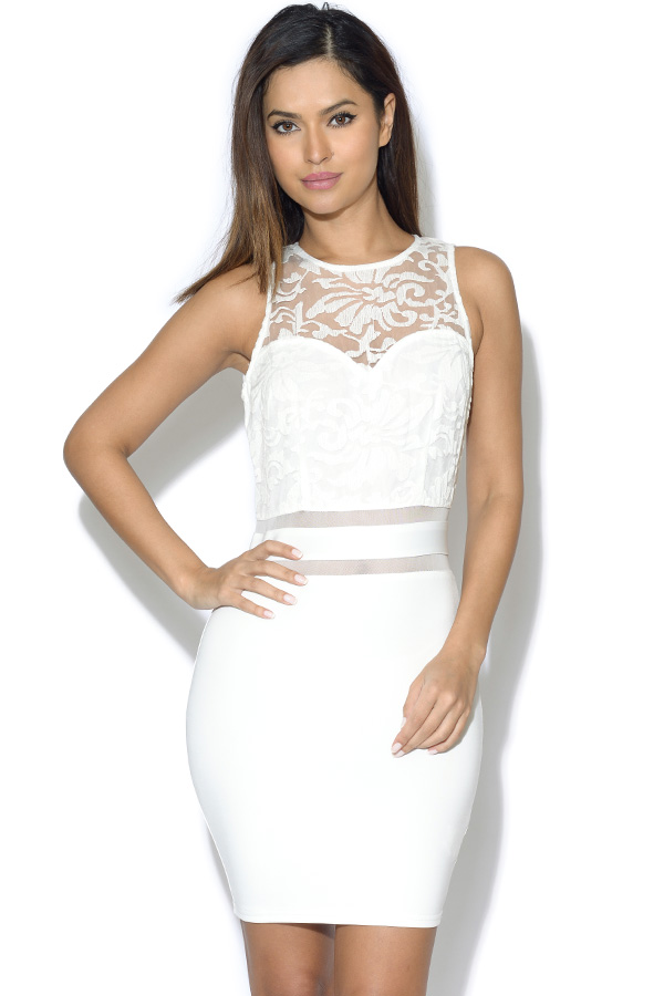 AX Paris Lace Top Mesh Insert Dress