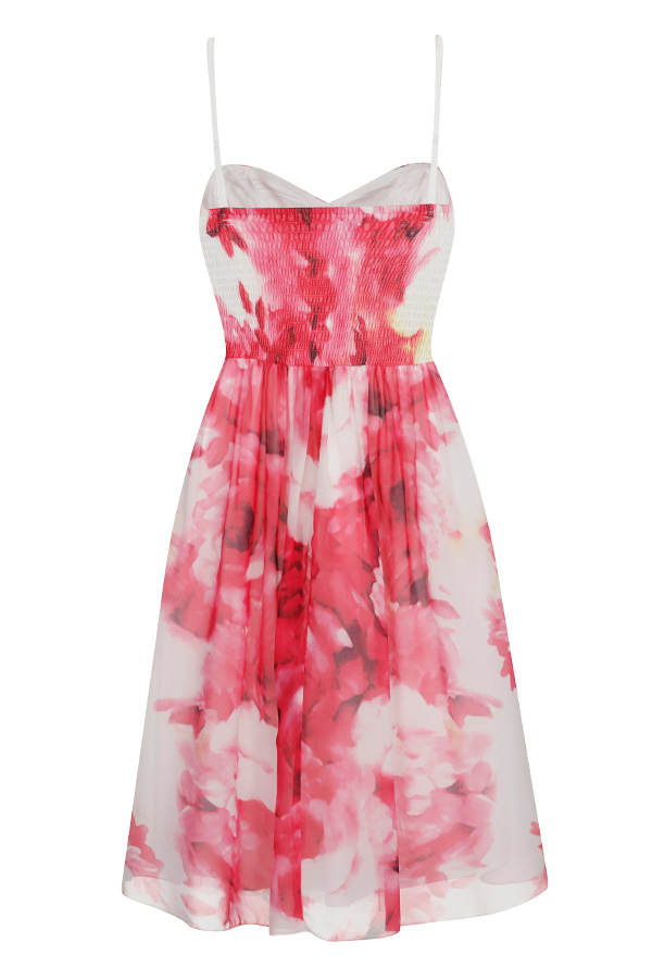 Little Mistress Floral Print Embellished Waist Dress