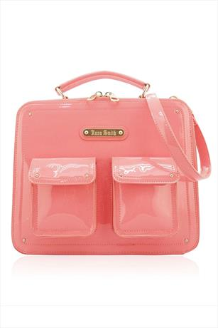 Jet Patent Pink Satchel Bag