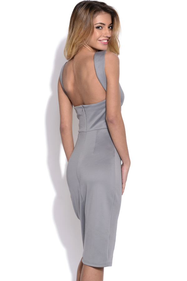 Lavish Alice Grey Strap Detail Bodycon Dress