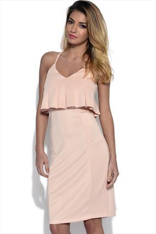 Lavish Alice Pleated Peplum Bodycon Dress