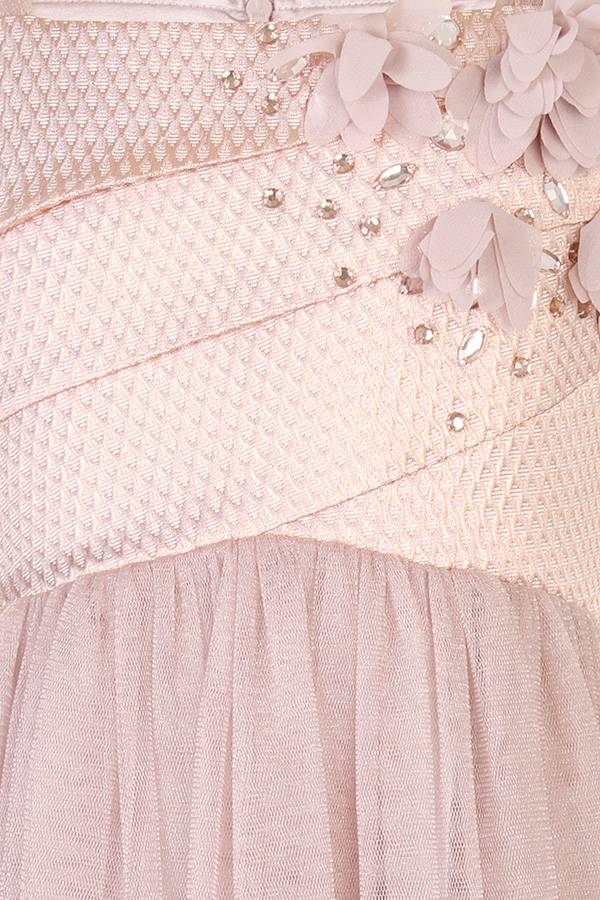 Little MisDress Pink Flower Embellished Dress