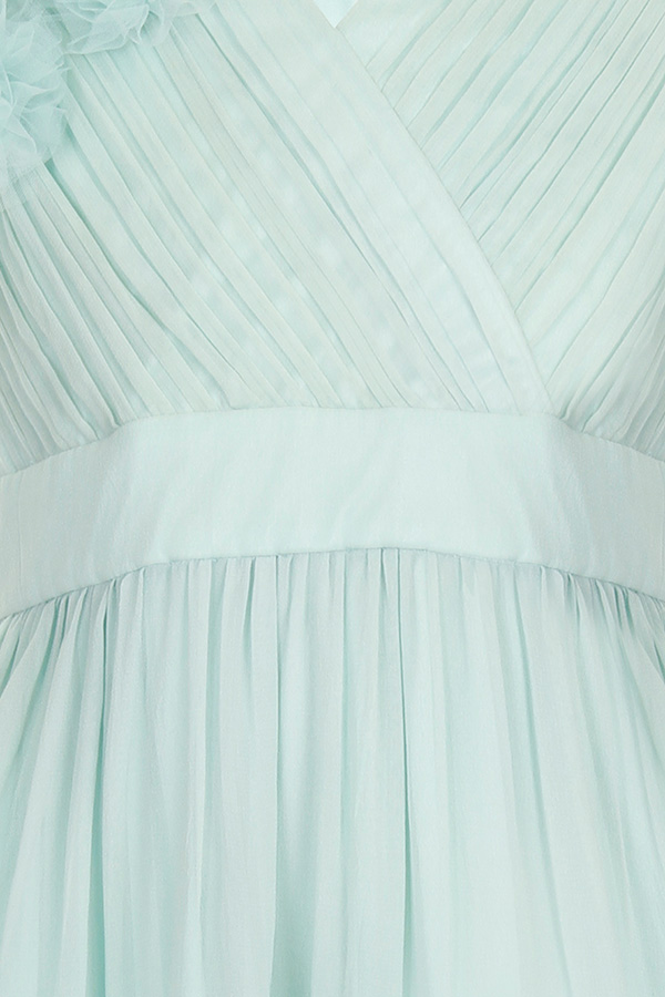 Little MisDress Sage Chiffon Shoulder Detail Dress