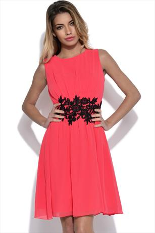Little Mistress Floral Applique Fit and Flare Dress