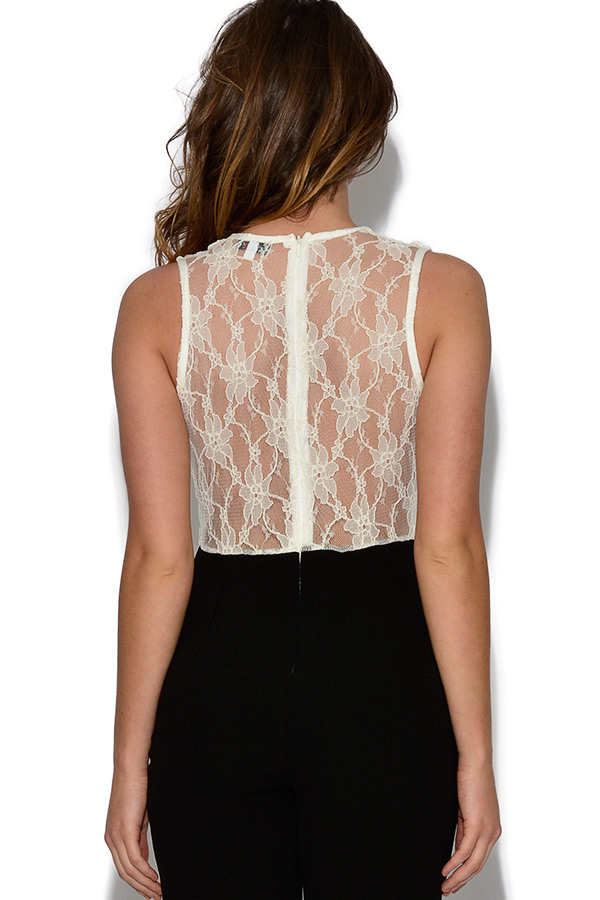 Black and Ivory Lace Top Jumpsuit