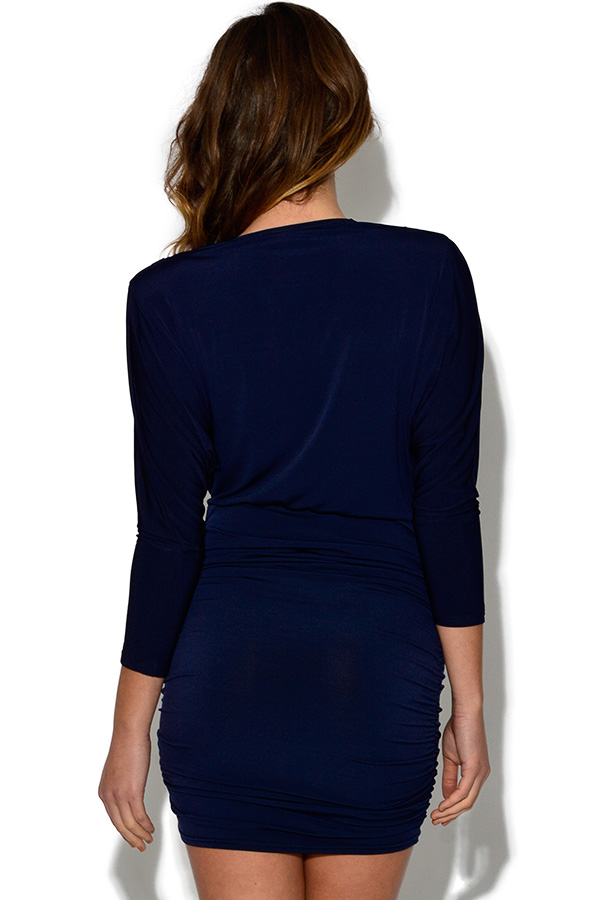 Wrap Front Navy Blue Dress