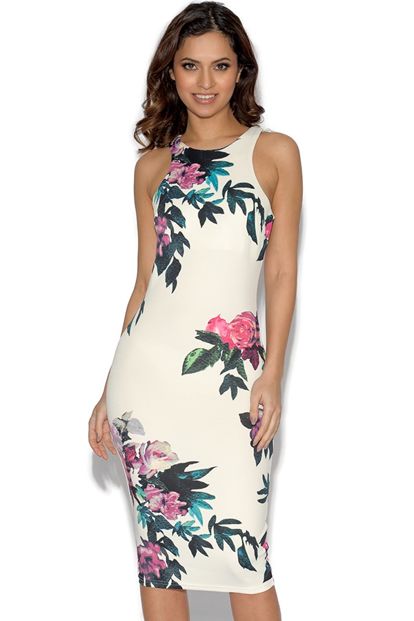 Cut In Detail Neck Floral Printed Midi Dress