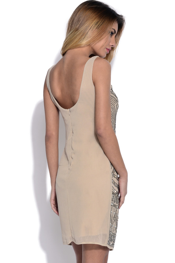 Luxe Beige Embellished Dress