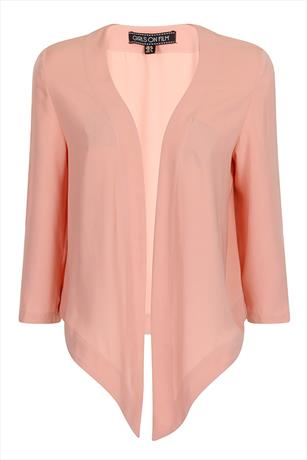 Girls On Film Peach Open Waterfall Jacket