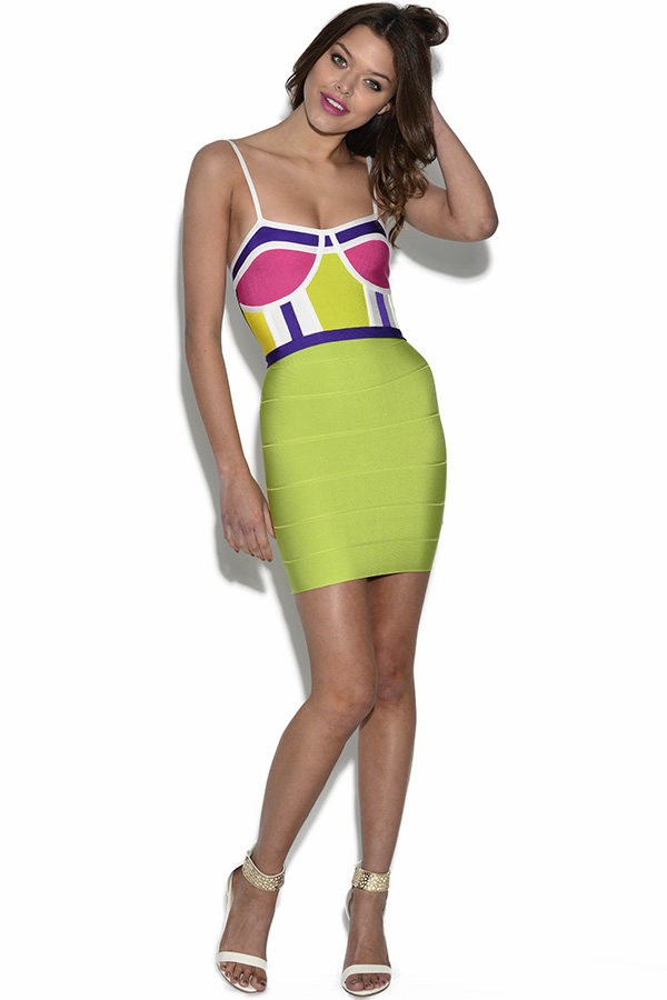 Bright Colour Block Bandage Top