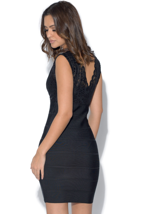 Flattering Lace Top Bandage Dress
