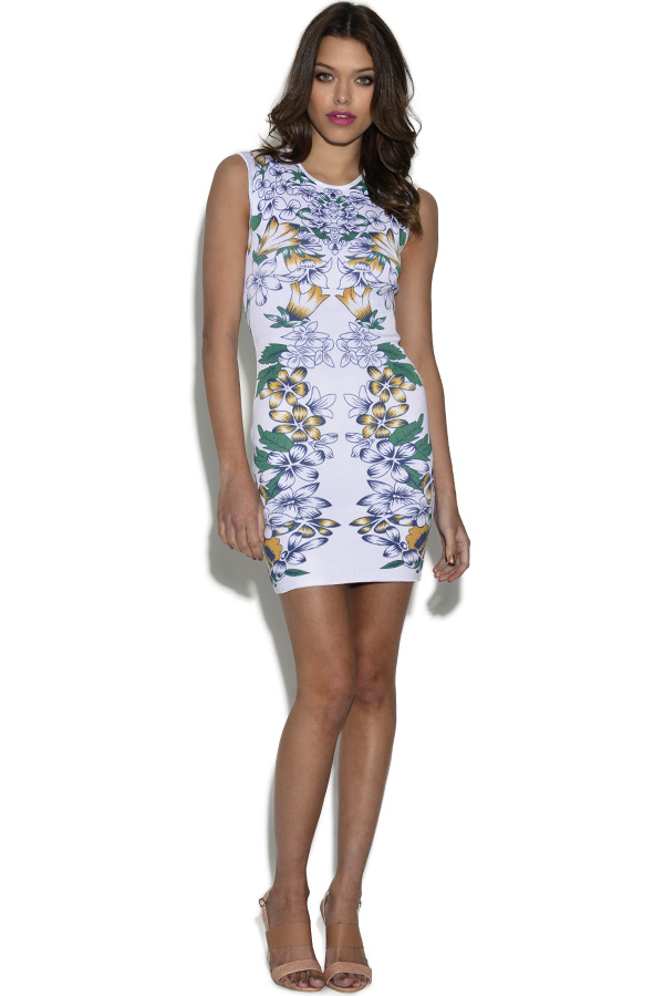 Floral Print Sleeveless Bandage Dress