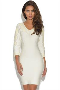 V Neck Nude Bandage Dress