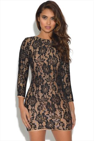 Black and Nude Lace Bandge Dress
