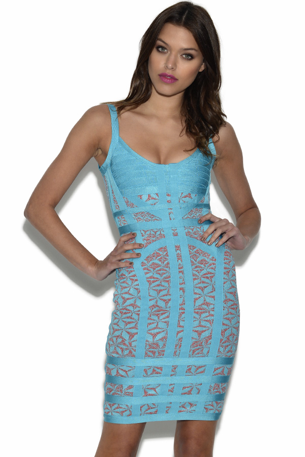 Blue and Pink Printed Bandage Dress