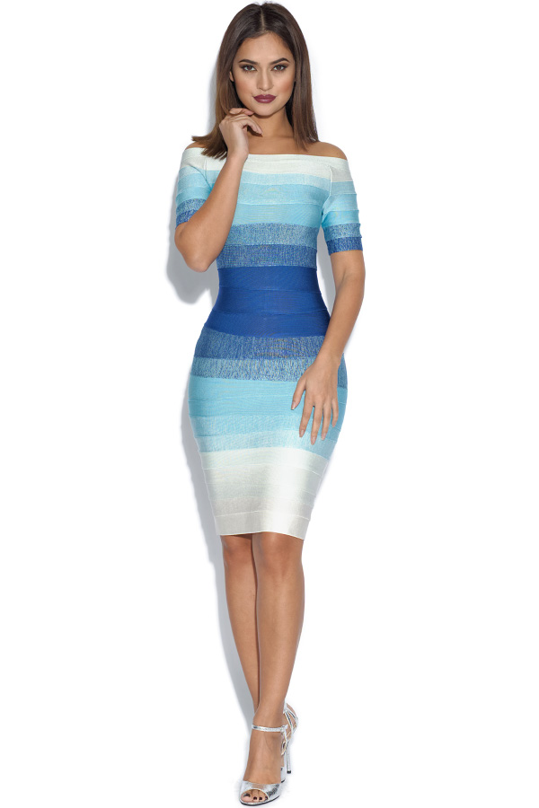 Ombre Blue Gradient Bandage Dress