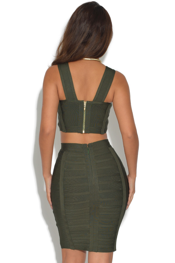 Olive 2 Piece Bandage Crop Top and Skirt