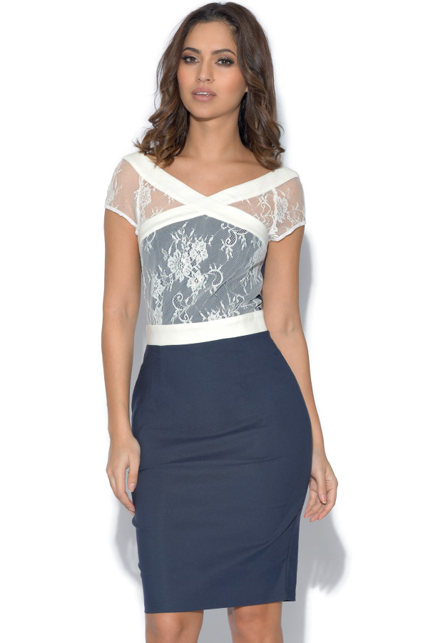 Paper Dolls Navy and White Lace Dress