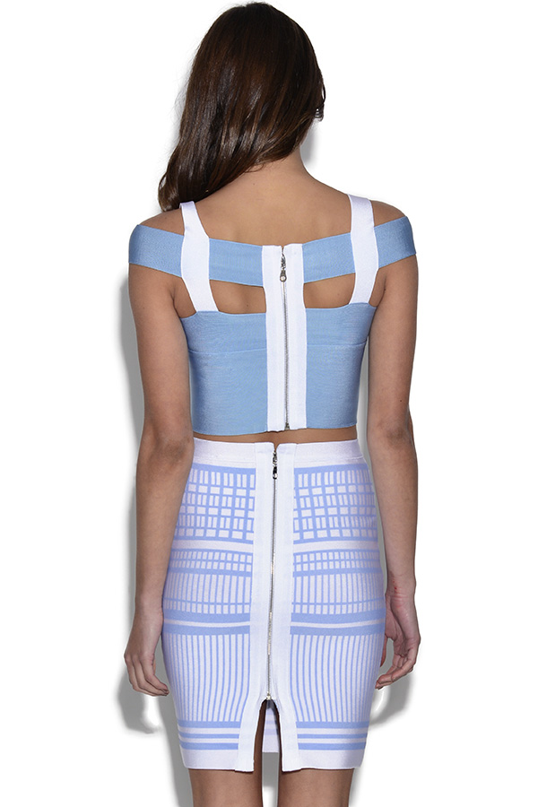 Blue Bandage Top with Matching Skirt