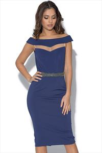 Little Mistress Navy Mesh Insert Bardot Dress