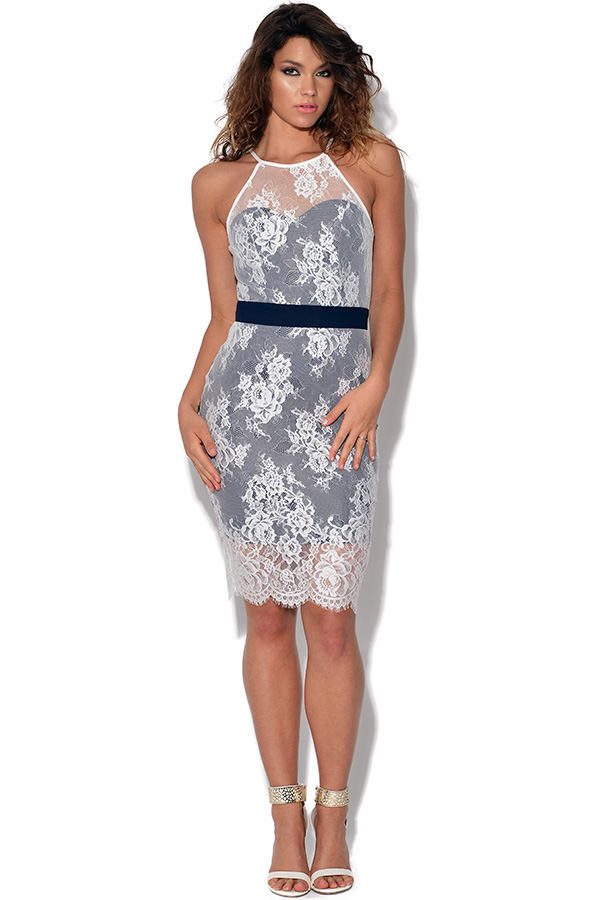 Paper Dolls Racer Front Lace Bodycon Dress