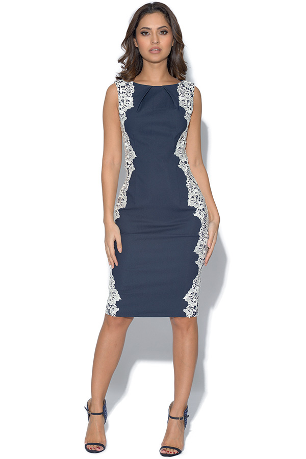 Paper Dolls Navy Sleeveless Lace Dress