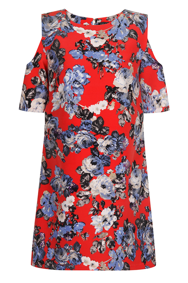 Girls On Film Red Floral Cold Shoulder Dress