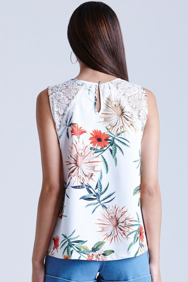 Girls On Film Palm Print Lace Vest Top