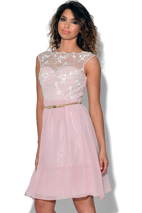 b7158538d7 Little Mistress Floral Embroidered Fit and Flare Dress