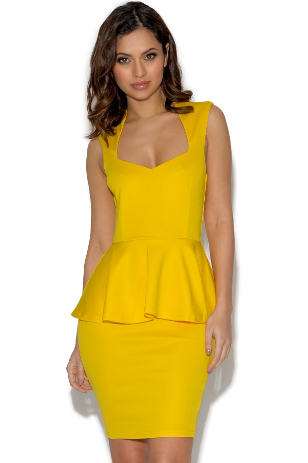 AX Paris Yellow Plunge Front Peplum Dress