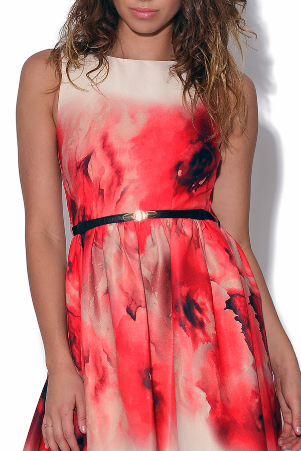 Little Mistress Poppy Print Fit and Flare Dress