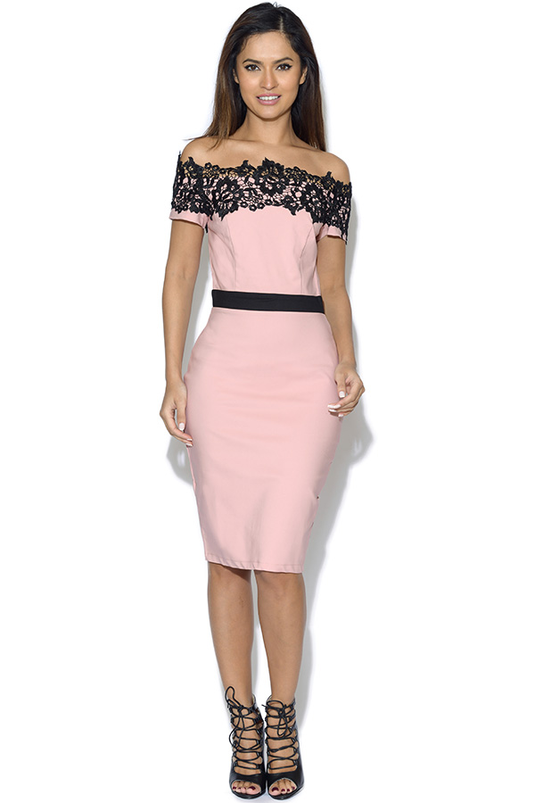 Paper Dolls Blush Lace Trim Dress