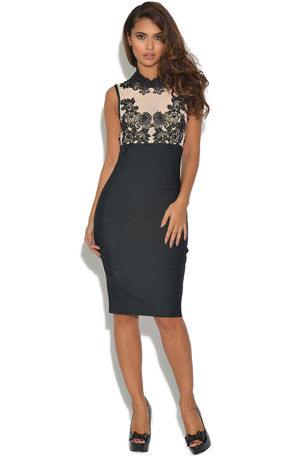 Luxe Black Lace and Mesh Top Bodycon Dress