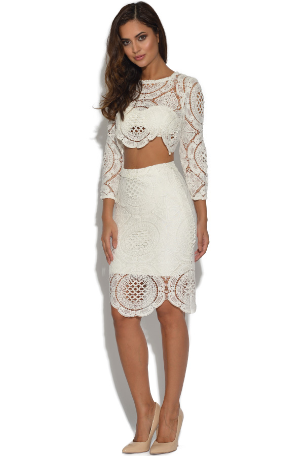 Luxe 2 Piece Lace Top and Skirt Set