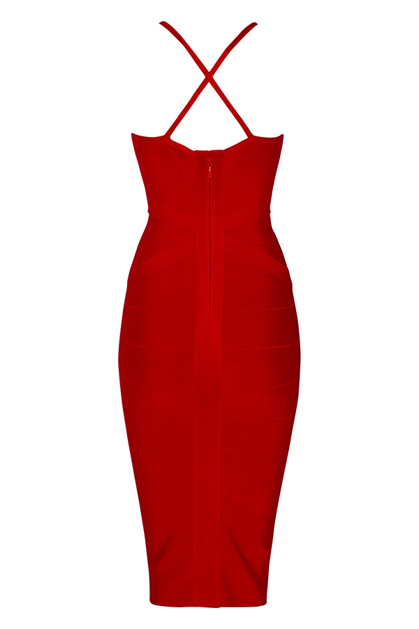Sultry Cross Back Bandage Dress