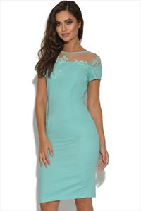 Paper Dolls Mint Floral Mesh Insert Dress