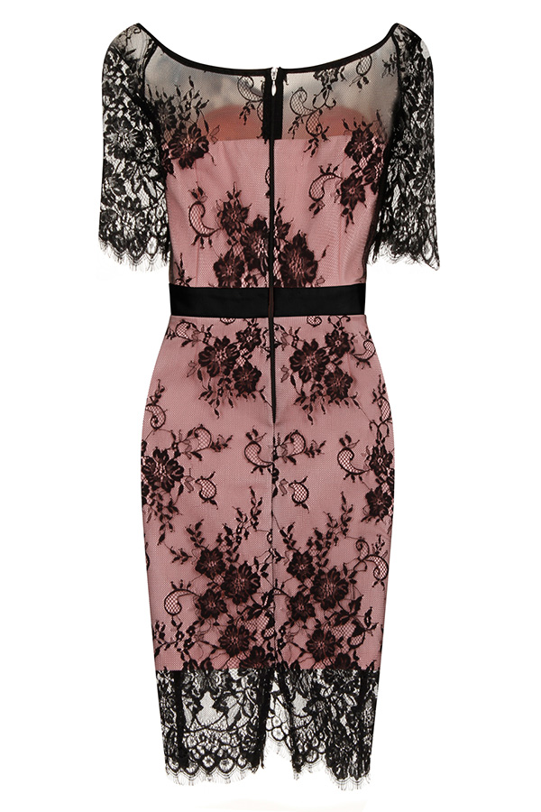 Paper Dolls Black and Pink Lace Overlay Dress