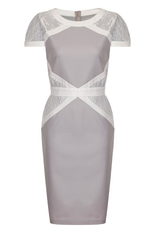 Paper Dolls Grey and White Lace Insert Dress