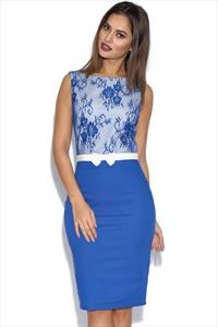 Paper Dolls Blue Lace Top Dress