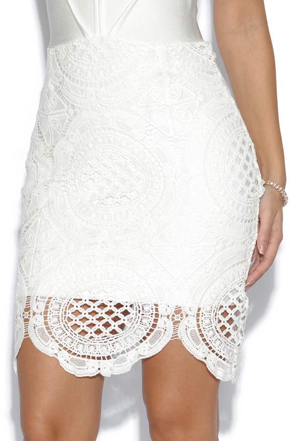 Luxe White Halterneck 2 in 1 Lace Dress