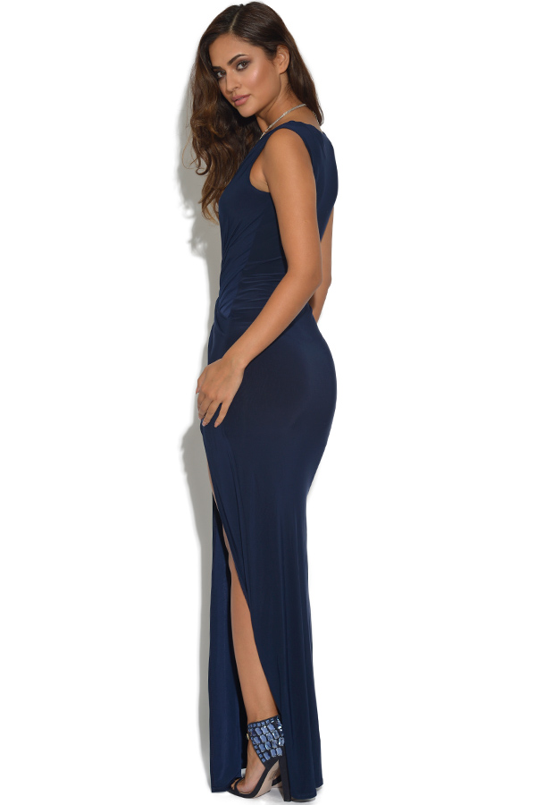 Slinky V Neck Crossover Wrap Maxi Dress