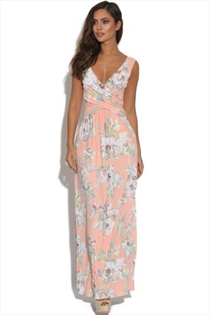 Peach Crossover Floral Maxi Dress