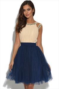 Little Mistress Cream and Navy Chiffon Prom Dress