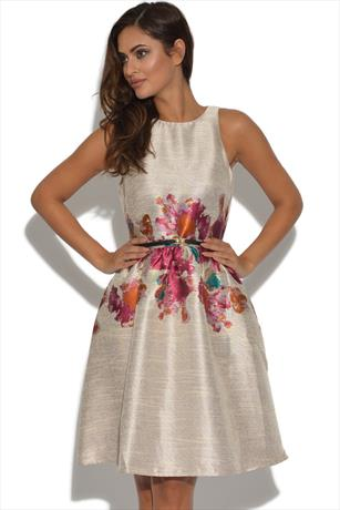 Little Mistress Metallic Floral Dress
