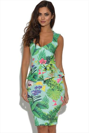 Vesper Katy Tropical Print Peplum dress