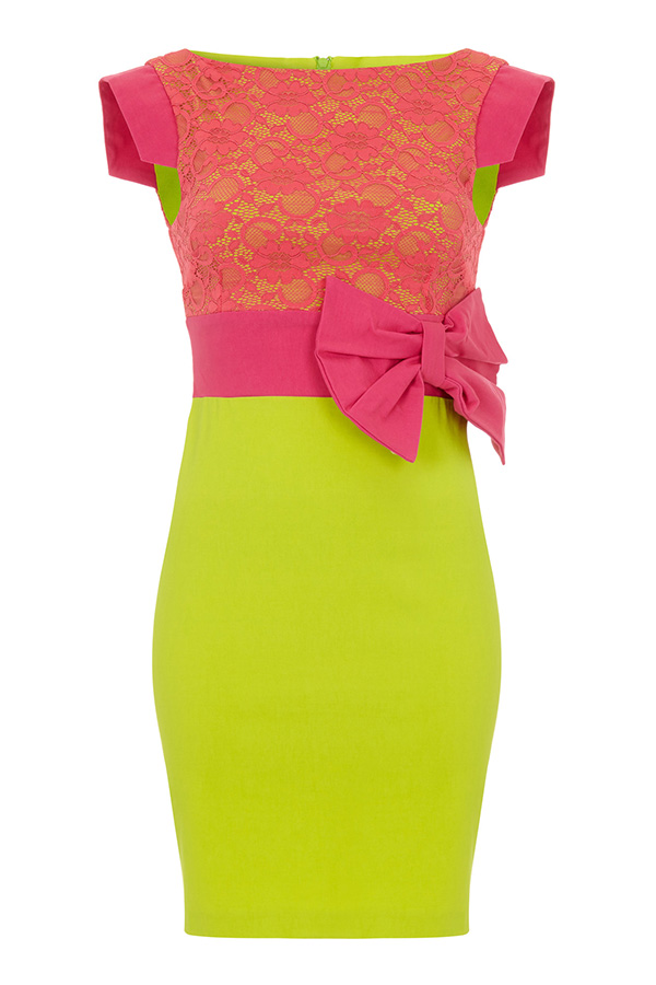 Vesper Hazel Lace Colourblock Pencil Dress