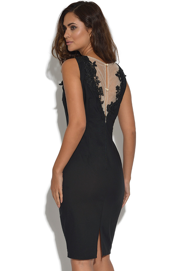 Paper Dolls Black Mesh Insert Wiggle Dress