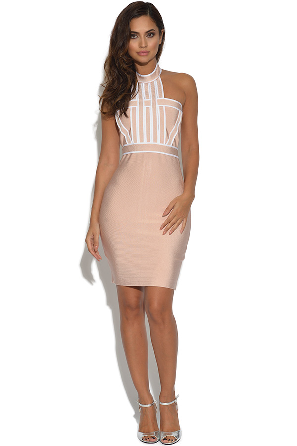 Luxe Nude Cold Shoulder Bandage Dress