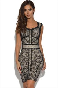 Nude and Black Lace Overlay Bandage Dress