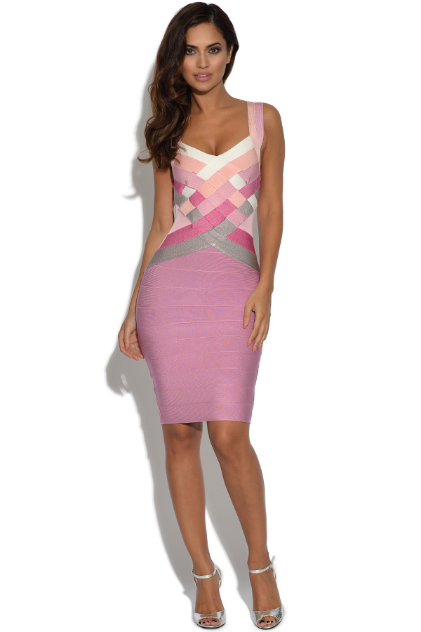 Contrasting Pink Check Front Bandage Dress